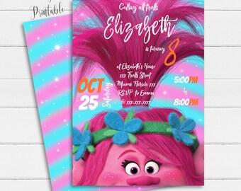 Trolls Invitation Instant Download Birthday Printable Poppy Party Girl