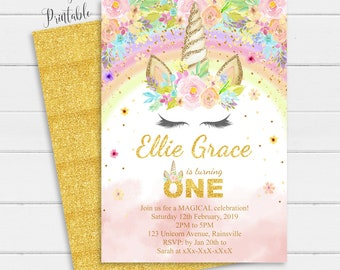 Rainbow Unicorn Invitation Instant Download Personalized 1st Birthday Floral Gold