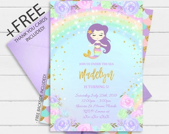 Mermaid Invitation Instant Download Under The Sea Invite 1st Birthday Party Digital