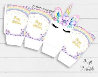 Unicorn DIY Popcorn Box, Unicorn Popcorn Template Instant Download, Unicorn  Party DIY Popcorn Box Template, Unicorn Printable DIY Popcorn