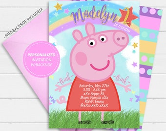 Peppa Pig Invitation Birthday Personalized Party Invites Printables Theme