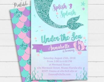 Mermaid Invitation Instant Download Under The Sea Digital Birthday 1st