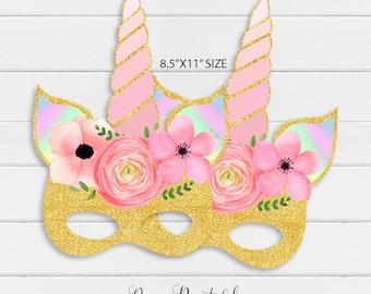 rainbow unicorn party mask floral unicorn mask printable etsy