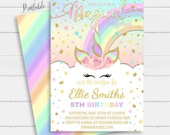Unicorn Invitation Card With Picture