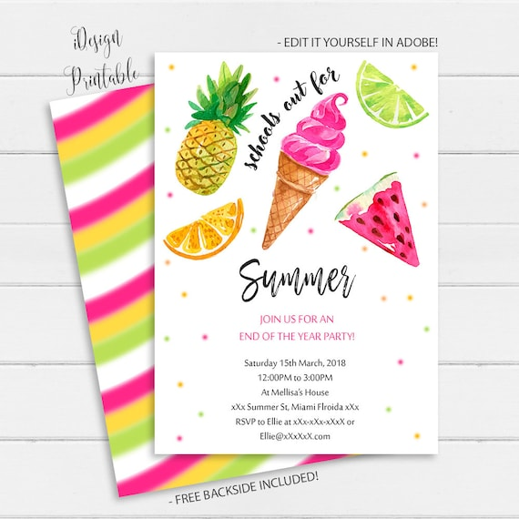 End Of School Party School S Out Party Invitation Summer Party Instant Download School S Out For Summer Invitation Beach Party Invites