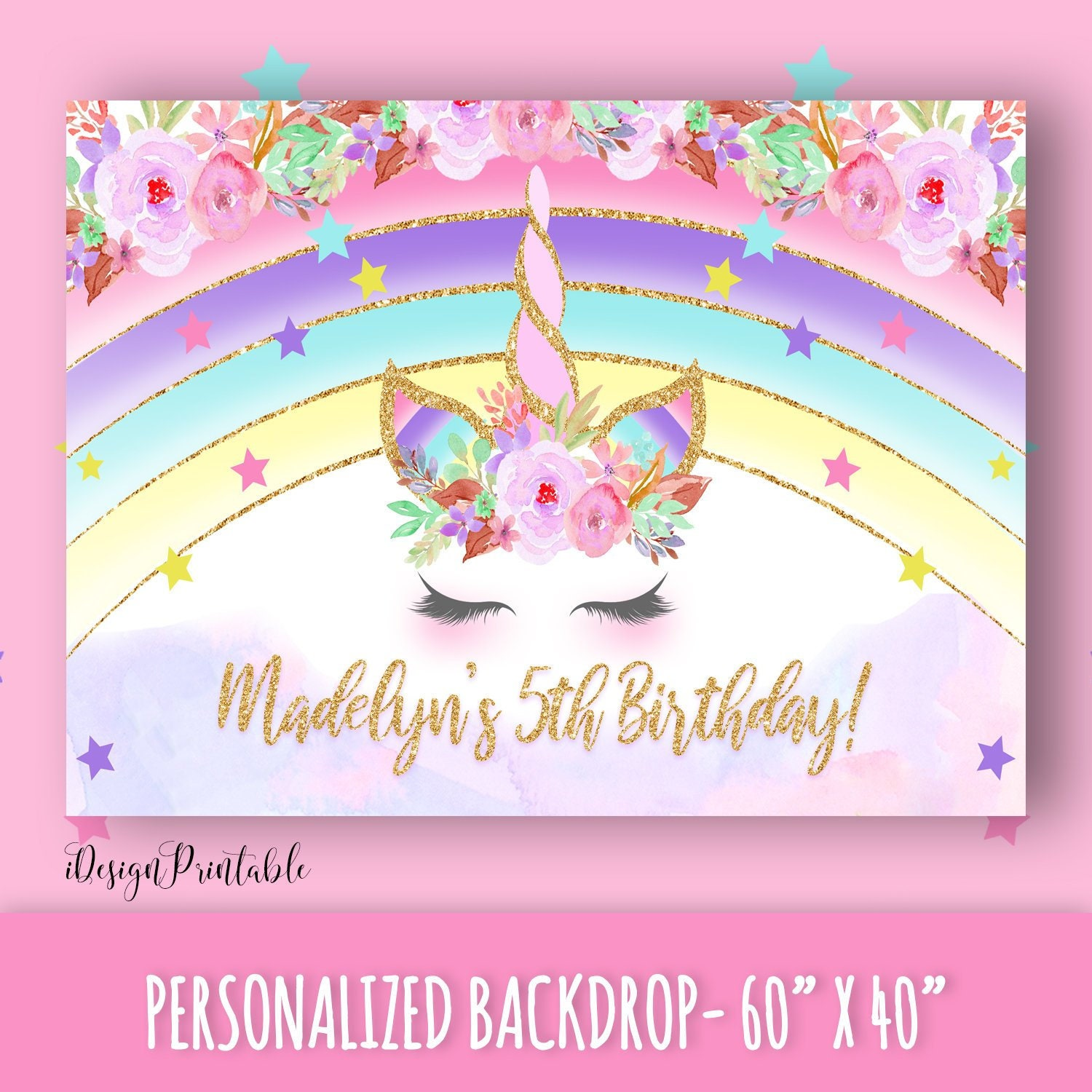 Details about  /x2 Personalised Birthday Banner Unicorn Children Party Decoration Poster 102