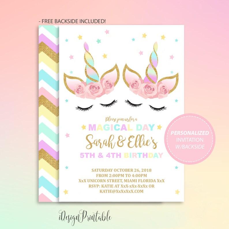 Sister Or Twin Unicorn Invitation Birthday