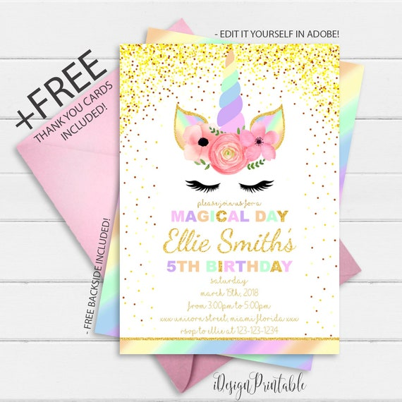 photograph about Free Printable Unicorn Invitations called Rainbow Unicorn Invitation, Glitter Unicorn Birthday Invitation Instantaneous Obtain, Floral Unicorn Invite, Printable Unicorn Invitation Record