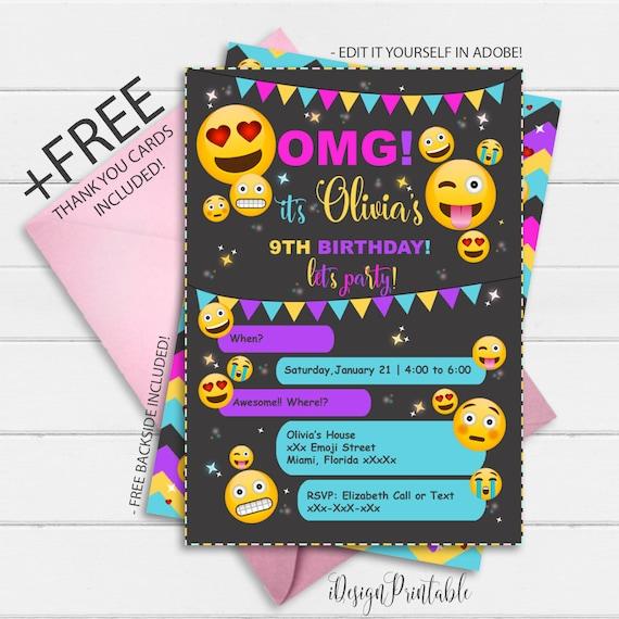 Black Emoji Birthday Invitation Girl Emojis Party Instant Download Invite Digital File Funny