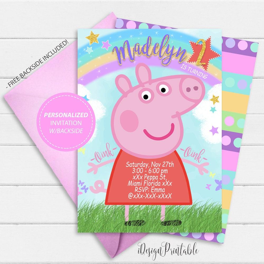 Peppa Pig Invitation Peppa Pig Birthday Invitation Etsy