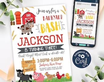 Farm Invitation, Farm Birthday Invitation Printable, Farm Animals Party Invite, Barnyard Invitation, Farm Themed, CORJL INSTANT DOWNLOAD