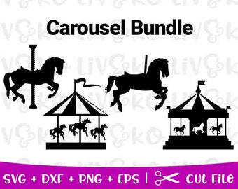 Carousel Bundle Svg Cut File Decal Horse Instant Download Digital Cricut