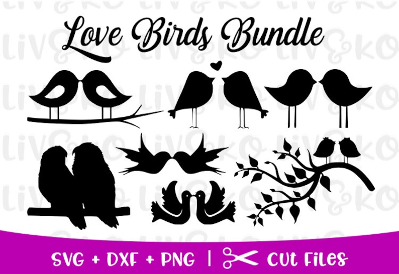 Love Birds DVG Bundle, Love Birds Cuttable Files, Love Birds Silhouette,  Love Birds png, svg files, Cricut files, Silhouette files