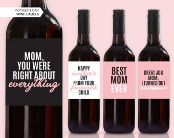 favourite  favorite child gift for mom birthday gift funny wine label I love how we don/'t even have to say how mother/'s day idea