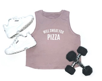 NEW Women's Workout Tank | Funny Gym Tank | Gym Shirt | Lifting | With Sweat For Pizza | Women's Workout Top | Funny Fitness | Foodie | Pink