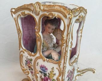 Choisy Le Roi Porcelain Woman Riding in a Sedan C1780's-1880's