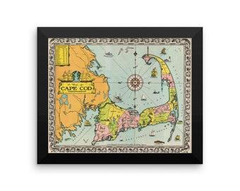 Cape Cod Map - Full Color, 1935. Framed poster