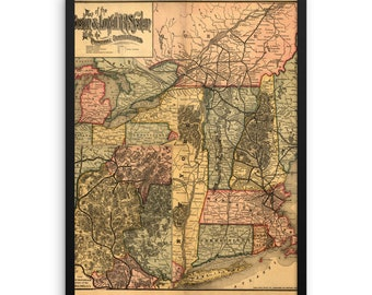 Map of the Boston & Lowell Railroad 1860. Framed poster