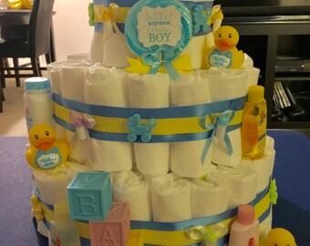 Baby Boy Rubber Duckie Diaper Cake