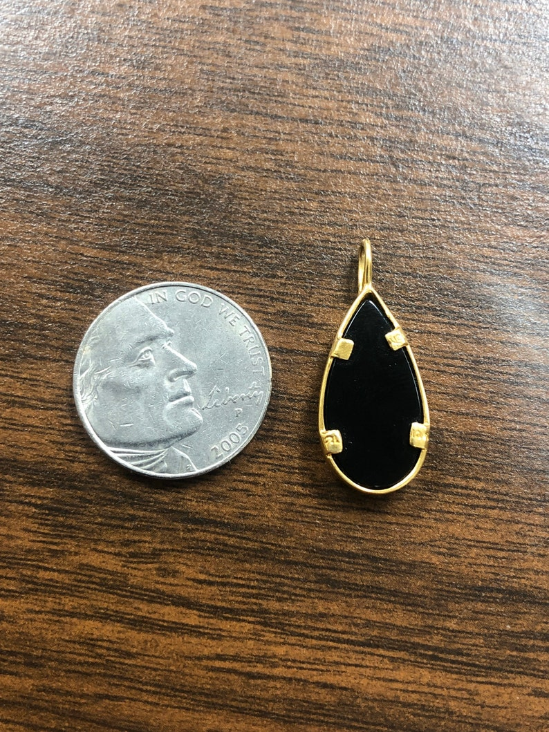 Vintage Gorgeous 10K12K Yellow /& Rose Gold Teardrop Black Onyx Leaf Pendant