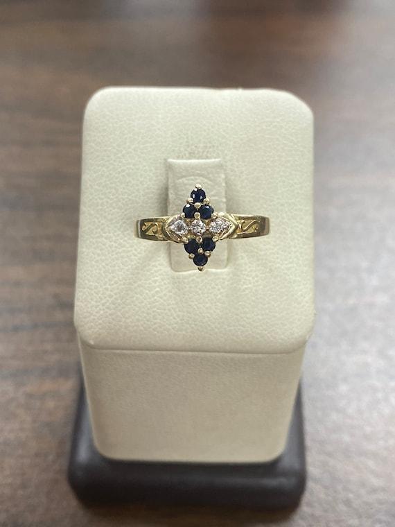 Vintage 14KT Yellow Gold Natural Sapphire & Diamon
