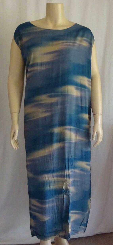 Plus SIze Funky Blue Flat Rayon Tank Dress Wearabl