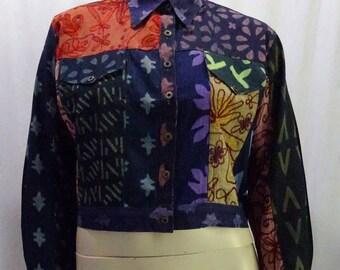 EAMZ 555 SACRED THREADS Cotton Funky Acid Wash Jacket Vintage S/M