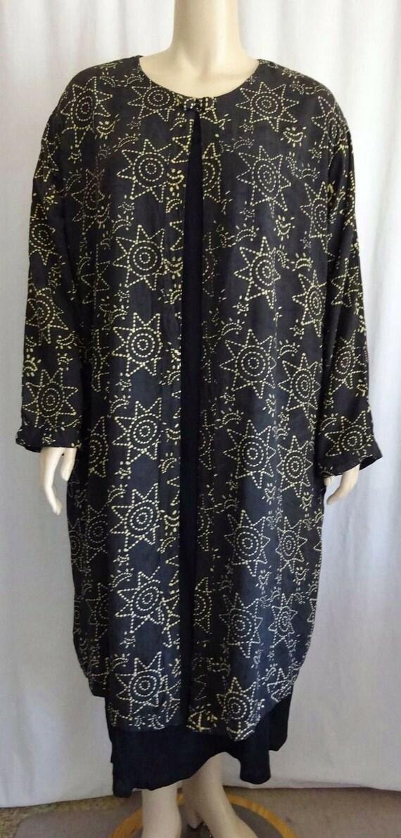 Plus L8 Black Moon Stars Rayon Dress Wearable ART