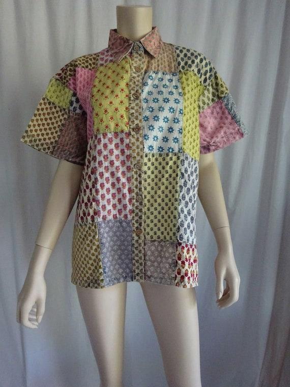 28d2f83308962 EAMZ 317 SACRED THREADS Vintage Cotton Patch Acid Wash Camp Shirt Small