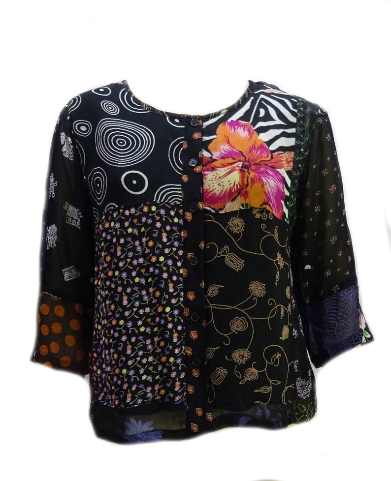 61c3f76900b41 EAMZ 948 SACRED THREADS Lovely Georgette Rayon Black Floral Top M/L