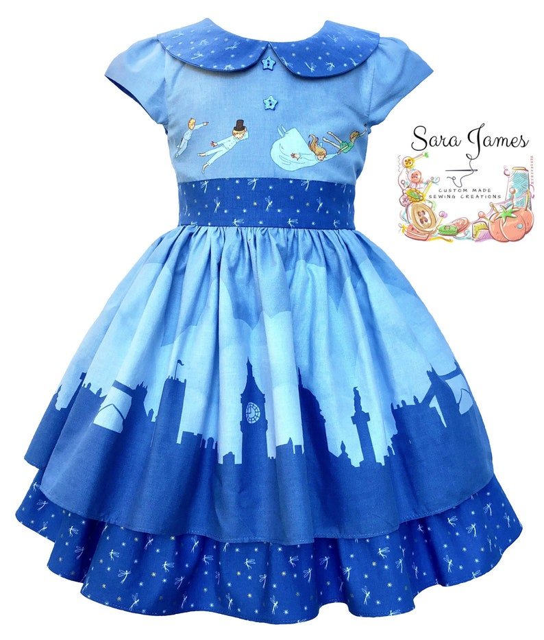 8c062ec30982 Peter Pan and Tinkerbell Handmade Girls Christmas Dress Blue   Etsy