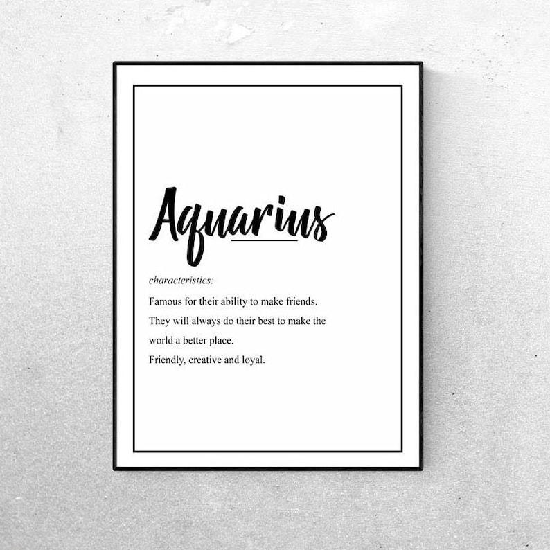 Aquarius, Star Sign Wall Art, Horoscope Wall Art, Zodiac Gift, Printable  Art, Aquarius Gift, Astrology Gifts, Aquarius Art Prints, Gift