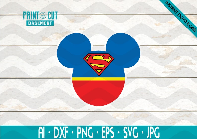 Mickey HEad SVG Dxf pdf Studio Disney SVG dxf pdf Studio Dc comics  Mickey Head Superman Mickey Head,Superman SVG dxf pdf Studio Dc