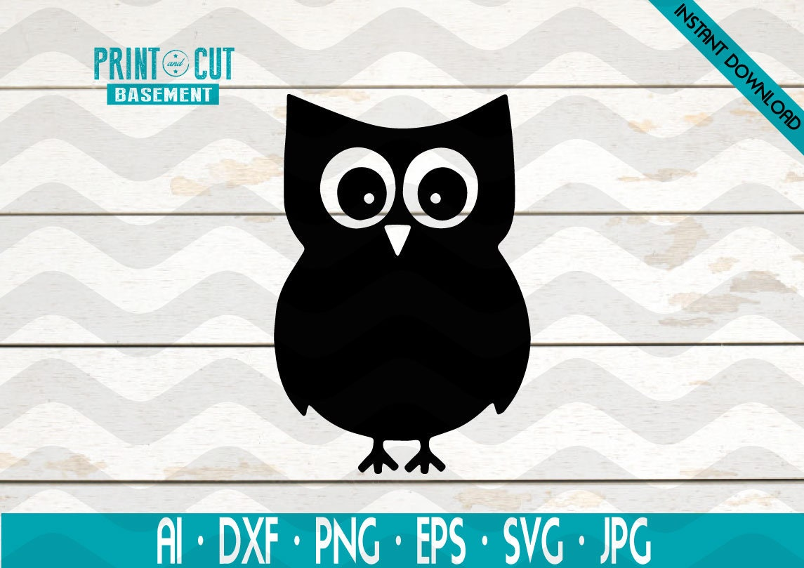 Owl Animal Outdoor Decal Night Owl Wildlife Cute Owl Funny Owl SVG EPS  Clipart Vector Cricut Cut Cutting File Silhouette and DXF File