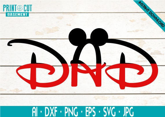 Mickey Mouse Dad Svg Dad Disney Svg And Png Instant Download Etsy