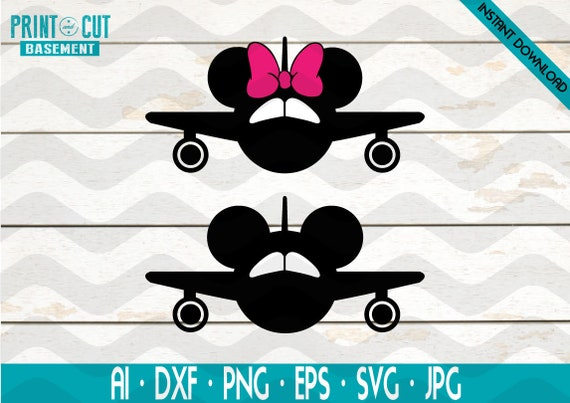 Airplane Mickey Svg Airplane Minnie Svg Disney Airplane Svg Etsy