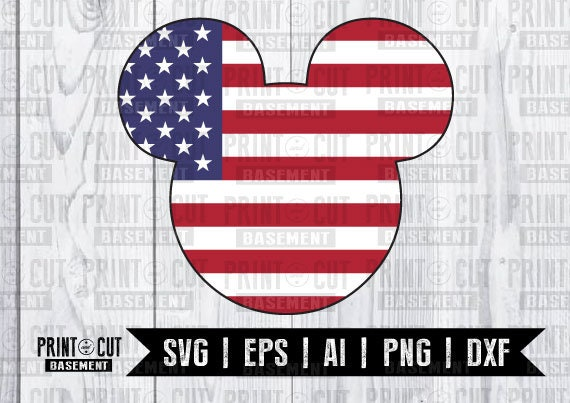 Mickey Mouse American Flag Svg Dxf Png Vector Cut File Etsy