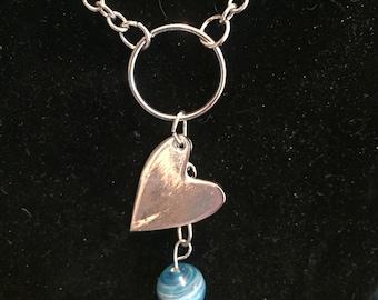 Heart blue glass bead