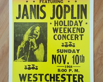 Janis Joplin November 10, 1968 Holiday Weekend Concert Poster