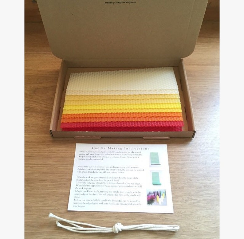 Beeswax Candle Making Kit Candle Wick Instruction Sheet 10 Beeswax Sheets