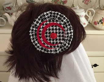"""Girl's cotton fabric black, white and red hair clip with red acrylic rose approx 41/4"""""""