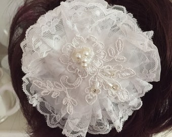 White lace and vintage applique hair accessory for bride or special occasion