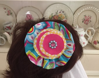 """Girl's teal,pink,yellow, and green cotton fabric hair clip for school or any occasion approx 41/4"""""""