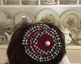 """Black and maroon fabric hair clip for girl's  for school or other occasion, approx 41/4"""""""