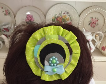 """Lime green, teal and black girl's hair clip, with blue and green pearls, approx 41/4"""" can be used for school or other occasion"""