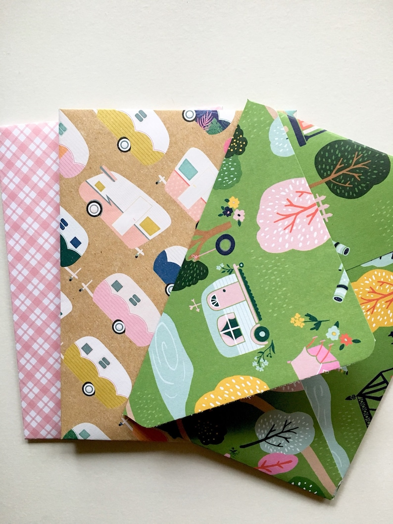 retro gift ideas Stationery Set campers and trailers Pattern Envelopes and letters