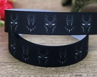 "Black Panter Movie Inspired Printed Grosgrain Ribbon 7/8"" Wide BP041218"