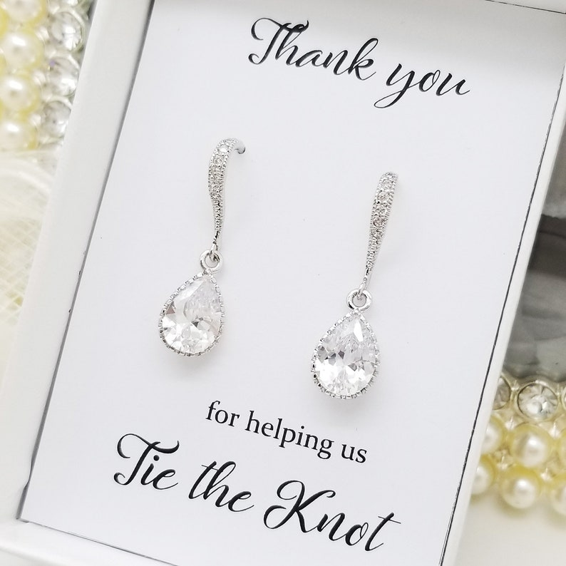 Bridesmaid Earrings Gift Crystal Dangle Teardrop Silver Earrings