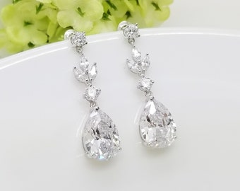 SILVER Teardrop with Long leaves Cubic Zirconia Earrings, Bridesmaid earrings gift