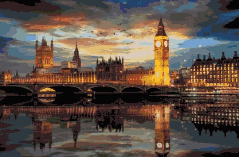 Beautiful London Night Cross Stitch Pattern Westminster Palace Reflection Pixel Art Image Big Ben Tower Thames River Pdf Download Pattern